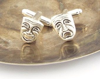 Theatre Mask Comedy and Tragedy Mismatched Cufflinks - Silver Plated