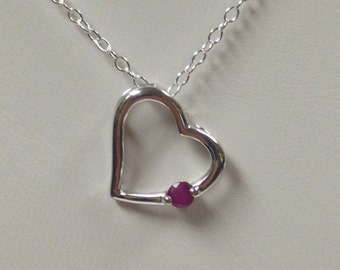 Heart Necklace with Natural Ruby 925 Sterling Silver