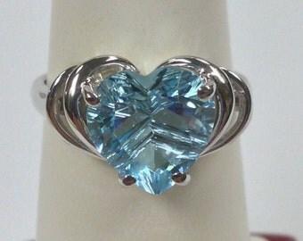 Heart Shape Natural Blue Topaz Ring 925 Sterling Silver