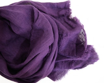 Purple Linen Scarf, Hand Dyed, Large Purple Scarf, Amethyst, Lightweight, European Linen Gauze, Eggplant, Fall Jewel Tones, Grape Scarf, USA
