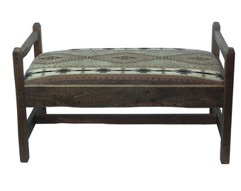 Barnwood Upholstered Bench with Replaceable Pillow - Apache Fabric