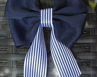 Zsofia's Navy Blue White Striped Bow Elastic New