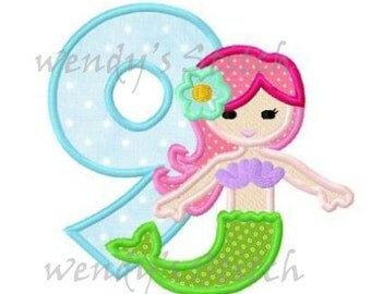 mermaid 9 birthday applique machine embroidery design instant download