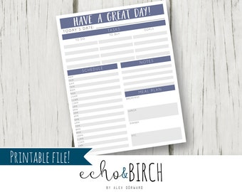 """PRINTABLE """"Have A Great Day"""" To Do Planner Organization List   THREE sizes!   Instant Download   Printable Stationery & Planner Supplies"""