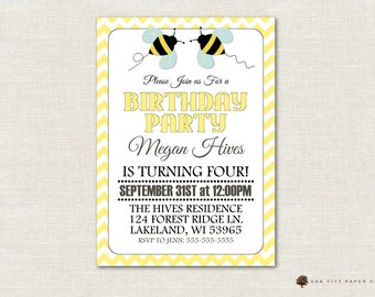 Bee Birthday Party Invitation, Honey Bee Birthday Invitation, Bumble Bee Birthday Invitation, Bee Birthday Invite, Bee Birthday, Printable