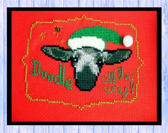 Christmas Cross Stitch, Original Chart, SHEEP, Doodle the Lamb, Santa, Instant PDF Download