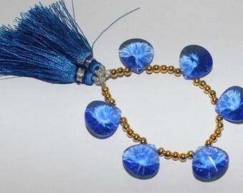 6 Pcs 3 Matched Pair AAA Blue Quartz Concave Cut Heart Briolette Size 15x15mm Approx 0017