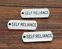 20pcs--Self Reliance charms, Antique tibetan silver Self Reliance Charm Pendant  21x8mm