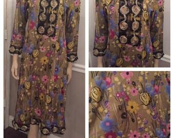 Beautiful Handmade Floral Indian Sari dress / size Medium