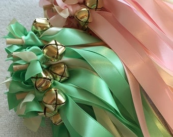 100 Wedding Wands/Wedding Ribbon Wands/Wedding Wand/Wedding Streamers/Mint/Pink/Ivory