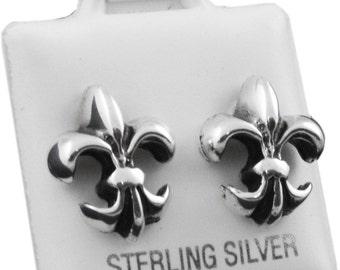 Solid 925 Sterling Silver Fleur De Lis Stud Earrings 1/2 Big Face of the Earring