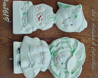 Vintage Chalkware Anthropomorphic Vegetable Head Boy and Girl Pot Holder Plaques with Two Vintage Crochet Pot Holders (Inventory M1619)