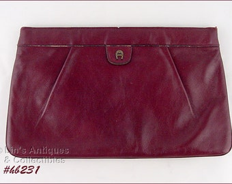 Vintage Aigner Handbag in Signature Ox Blood Color  (Inventory #HB231)
