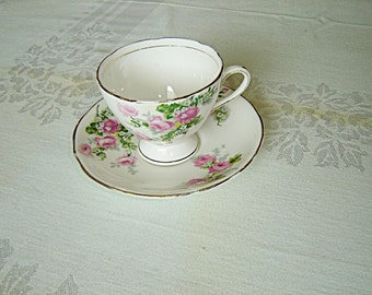 Royal Stafford 1799 pink Rose cup and saucer