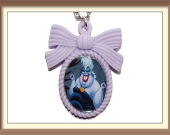 Ursula Disney Villains Inspired Bow Cameo Necklace / Little Mermaid