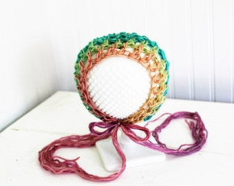 RTS Rainbow Ripple Bonnet // Handmade Crochet Blanket // Newborn Photo Prop // Rainbow Baby Prop Ready to Ship