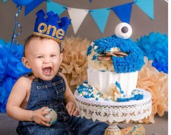 First Birthday Felt Crown | Felt Birthday Crown | Birthday Boy Crown  | Cake Smash |1st Birthday | Photo Prop | Birthday | Baby Birthday