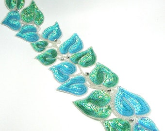 "Leaf Vine Appliqué, Turquoise and Green Sequins with Silver Beads, 22"" x 5.5""  - 10185"