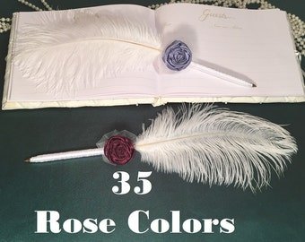 Flower Wedding Pen Rose GUEST BOOK GuestBook Pen Set Large Ostrich Feather Pen Roses Wedding Singing Pen Wedding Reception Accessories