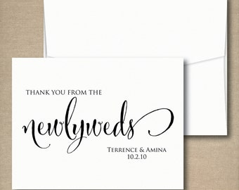 Wedding Thank You Cards, Thank You From the Newlyweds, Personalized Wedding Cards, Bridal Shower Thank You Cards - Set of 12, 50, 100