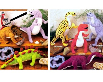 Vintage Crochet Pattern  Dinosaur Toys Tyrannosaurus Rex T Rex Stegosaurus Prehistoric