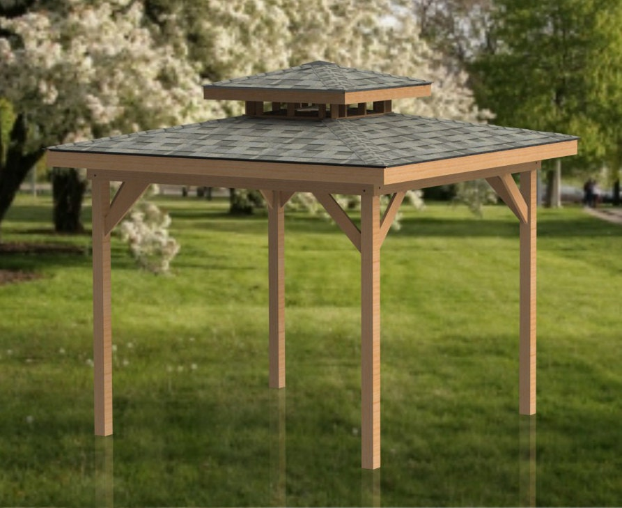 Hot tub gazebo building plans double hip roof 12 x 12 for Double hip roof design