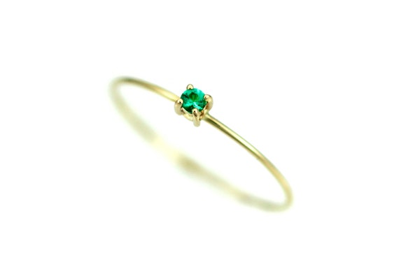Simple Emerald Ring Natural Emerald Ring Genuine Emerald