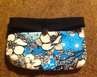 Blue, white, and black floral bag