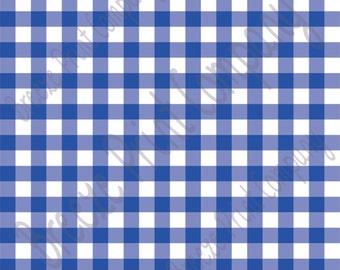 Blue and white buffalo check craft  vinyl pattern sheet - HTV or Adhesive Vinyl -  htv3401