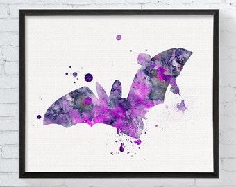 Bat Art, Bat Print, Watercolor Bat, Chiroptera Art Print, Bat Poster, Bat Painting, Wildlife, Animal Art, Halloween Decor, Watercolor Print