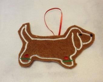 Basset Hound Personalized Felt Gingerbread or Angel Ornament