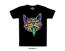 Trippy Cat Psychedelic Hippie Rave Trip Acid Neon Huichol Fluorescent Cat Neko Chat Gato Meow Roar T-Shirt
