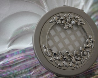 Lovely Signed Mikimoto Pearl and Silver Evening Mirror