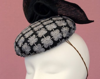 Black and Silver Button Hat