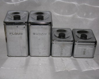 Set of 4 vintage chrome canisters Lincoln Beauty Ware