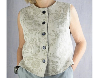 Sleeveless top made with vintage French linen damask, waistcoat, blouse, jacket, shirt, summer (76)