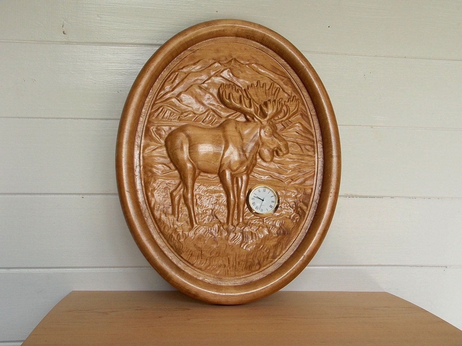 Wood carvings for sale clock moose clearance