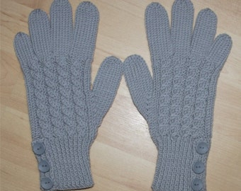 Merino Wool Gloves - Grey / Gray - Cable Pattern and Buttoned Cuff