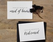 7 x Bridesmaid Thank You Card, Thank You For Being My Maid of Honor, Thank You Card Bridesmaid, Bridesmaid Gift, Thank You Wedding Cards, K7