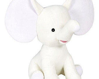 Personalized Stuffed Animal-Dumble Elephant-White