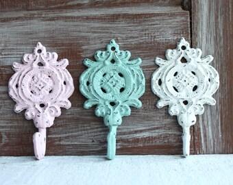 Set of 3 Hooks, Decorative Wall Hooks, Shabby Distressed Pastel Cast Iron Metal Hooks, Bathroom Towel Hooks, Nursery Decor, Key Hooks