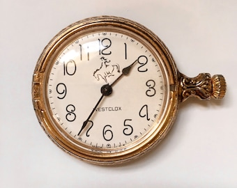 Vintage Westclox Pocket Watch, gold toned mens horse face wind up watch