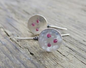 Red spinel earrings. Artisan sterling silver earrings. Sterling silver and red spinel earrings. Red spinel dangle earrings.