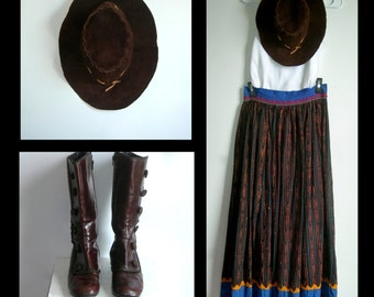 Vtg. Very Rare Hand Stitched, Dyed, Print Full Maxi Skirt~ All Natural Dyed Cotton ~ Made in Peru ~ Small, But See Dimensions