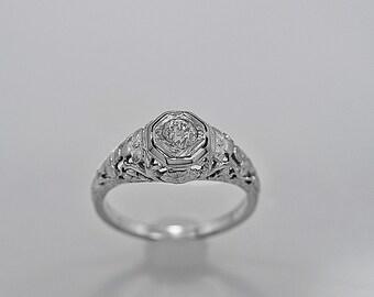Antique Engagement Ring .31ct. Diamond & 18K White Gold Art Deco- J34132