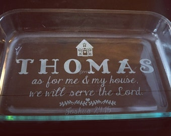 "Custom etched 9x13"" glass baking dish - ADD YOUR NAME!"