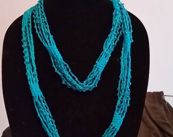 Turquoise Beaded Crochet Necklace