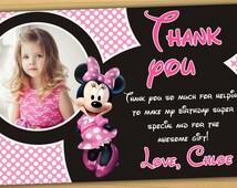 Minnie mouse thank you card, Minnie thank you card - Digital file