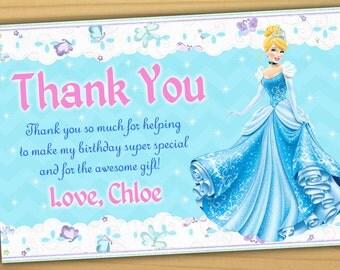Cinderella thank you card, Disney Princess thank you card, Princess thank you card, princess Cinderella thank you card- Digital file