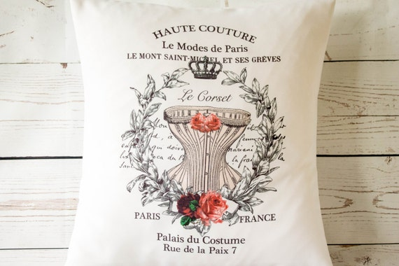 "Haute Couture Corset - 16"" Cushion Pillow Cover French Shabby Vintage Chic - UK Handmade"